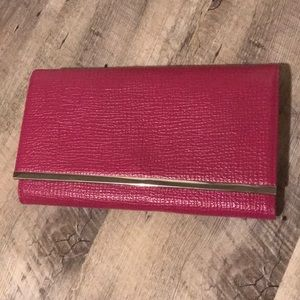 Hot Pink Clutch Wallet Purse with silver chain
